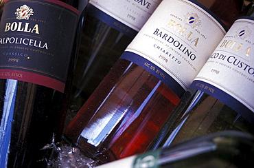 Bottles of wine, Close-up, Bardolino wine, Bardolino, Verona, Italy
