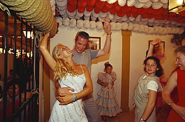 People dancing at Feria del Caballo, Jerez de la Frontera, Cadiz, Andalusia, Spain, Europe