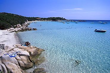 Beach, Golfe de Sta Giulia, east coast near Porto-Vecchio, Corsica, France