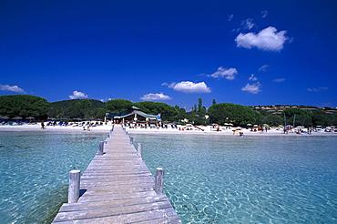 The wooden footbridge, Golfe de Sta Giulia, east coast near Porto-Vecchio, Corsica, France