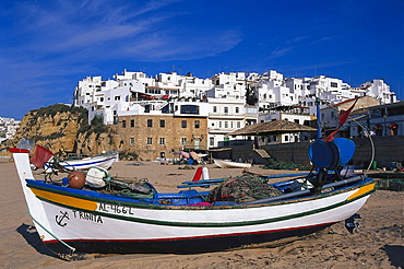 Fishing boats on the beach, Albufeira, Algarve, Portugal, Europe