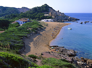Coastal landscape and bay, Cala Pregonda, Minorca, Spain