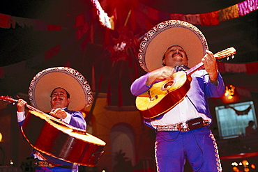 Two musicians in Traditional costume playing the guitar, Mariachi, Band, Cancun, Quintana Roo, Yucatan, Mexico
