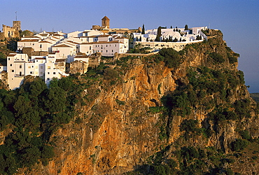 White village on a rock, Casares, Malaga province, Andalusia, Spain, Europe