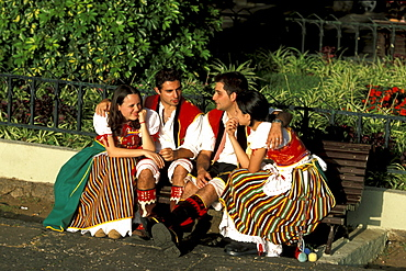 Group of young people in the traditional clothes, Fiesta, La Orotava, Tenerife, Canary Islands, Spain