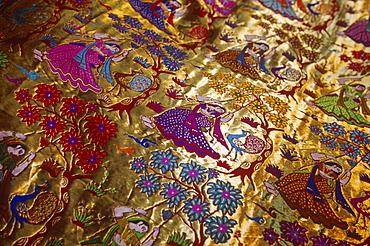 Colourful figured silk cloth, India, Asia