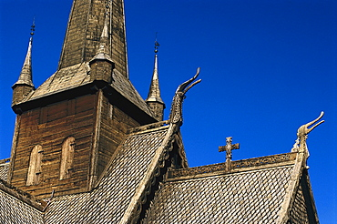 Close up of a wooden church, Lom, Oppland, Norway