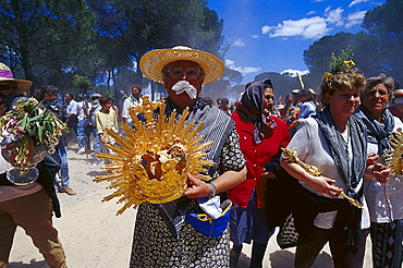 Pilgrims carrying liturgical items on their way, Andalusia, Spain