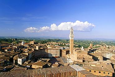 Townscape with Piazza del Campo, Torre del Mangia and Palazzo Pubblico, Siena, Tuscany, Italy
