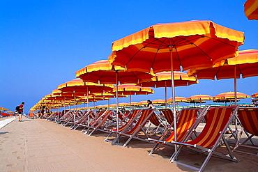 Sunshades and long chairs, Viareggio, Tuscany, Italy