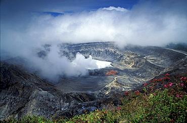 Smoke above crater lake at volcano Poas National Park, Costa Rica, Central America, America