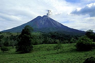 Volcanic eruption, Volcano Arenal under clouded sky, La Fortuna, Costa Rica, Central America, America