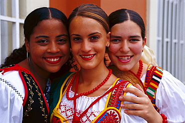 Girls in Traditional Costumes, La Orotava, Tenerife, Canary Islands, Spain