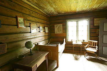 Inside view of an old farmhouse, Gutbrandsdal Farmhouse, Open Air museum Maihaugen, Lillehammmer, Oppland, Norway