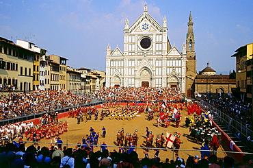 Calcio Storico Fiorentino, Piazza di Santa Croce, Town Festival, Florence, Tuscany. Italy