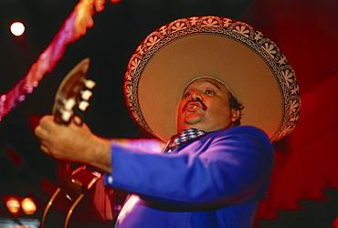 Musician with guitar, Mariachi, Cancun, Quintana Roo, Yucatan, Mexico