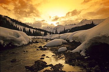 Winter landscape with stream in the evening light, Landscape, Nature