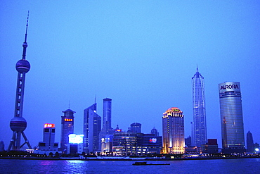 Skyline above the river in the evening, Shanghai, China, Asia