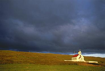 Church and cemetary, Stadur, North West Island, Island