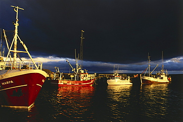 Fishing boats in the harbour, Hyammstangi, North coast of Island, Island