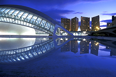 City of Arts and Sciences, Reflection in the water, Valencia, Spain
