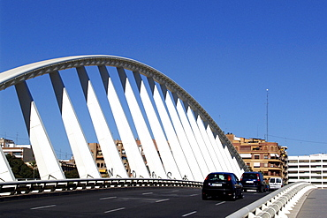 Modern bridge under blue sky, Valencia, Spain, Europe