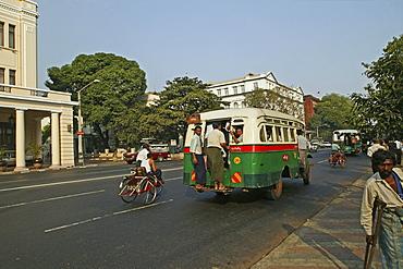 public transport, city bus in Yangon, Myanmar