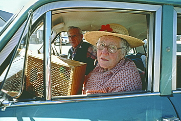 Old couple with budgie in vintage car, South Island, New Zealand