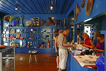 People in a souvenir shop, Coromandel Peninsula, North Island, New Zealand, Oceania