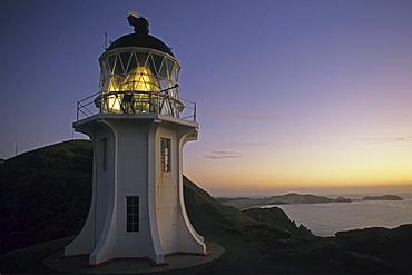 Cape Reinga Lighthouse at sunset, North Island, New Zealand, Oceania