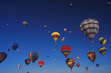 Hot air balloons in front of blue sky, Balloon Fiesta, Albuquerque, New Mexico, USA, America