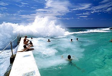 People swimming in the ocean, Bondi Beach, New South Wales, Australia
