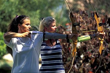 Women at archery at Club Aldiana, Fuerteventura, Canary Islands, Spain, Europe