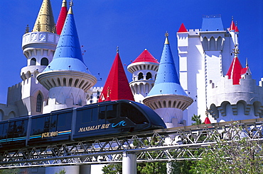 Monorail Mandalay Shuttle in front of the Excalibur Hotel, Las Vegas, Nevada, USA, America
