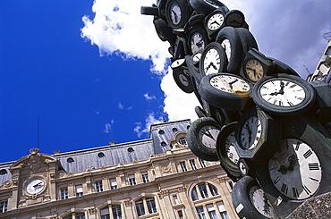 Watches sculpture at the railway station Gare Saint Lazare, Gare Saint-Lazare, Paris France