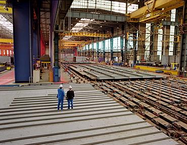 Huge factory floor, dry dock, Queen Mary 2, Saint-Nazaire, France
