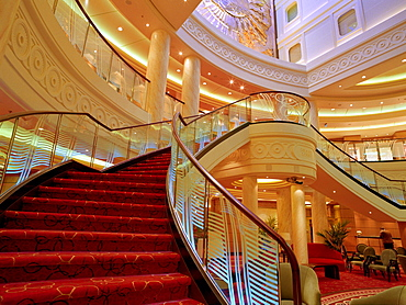 Staircase to grand lobby on deck 3, Queen Mary 2