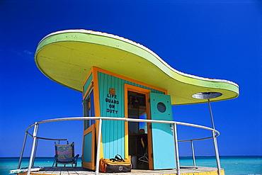 Art deco life guard hut under blue sky, South Beach, Miami Beach, Florida, USA, America