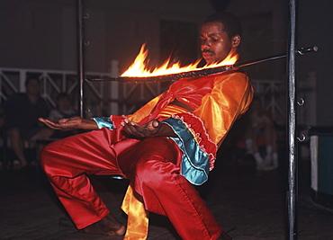 Afro-Caribbean Limbo dancer, St. Lucia, Caribbean, America