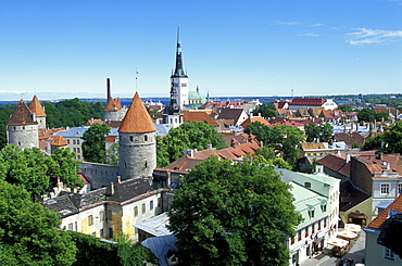 View over the old town of Tallinn from Rohukohtu terrace. The towers of the city walls in the front, St. Michael's Monastery and St. Olaf's Church in the back, Tallinn, Estonia