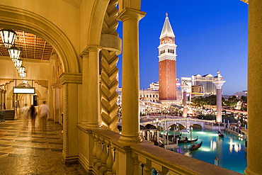 Night shot of the Venetian Resort Hotel and Casino in Las Vegas, Nevada, USA