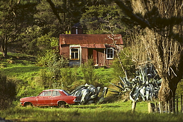Typical holiday weekend shack in the country, East Cape, North Island, New Zealand, Oceania