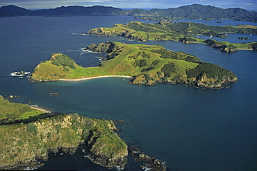 Aerial view of green islands and bays, Bay of Islands, North Island, New Zealand, Oceania