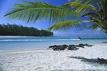 View from palm beach at Jetski, Ile aux Cerf, Mauritius, Indian ocean, Africa