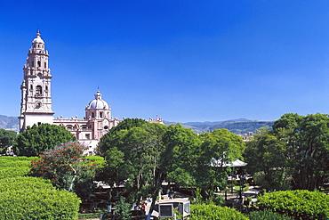 Cathedral under blue sky, Morelia, Michoacan, Mexico, America