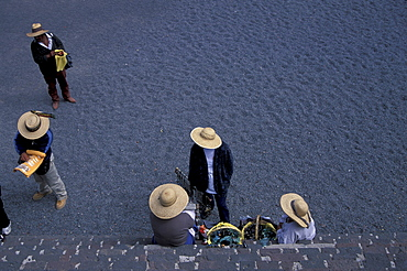View from the pyramid of sun onto group of people, Teotihuacan, Mexico