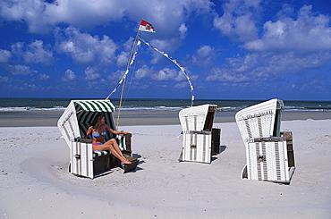 Beach chairs, Friesian Island, Lower Saxony, Germany