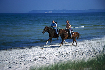 Riders, Beach of Seaside Resort Binz, Ruegen, Mecklenburg-Vorpommern, Germany