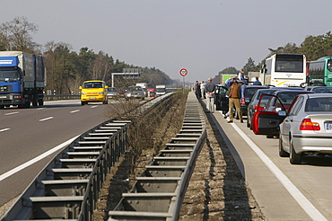 Traffic jam on the Autobahn from Berlin to Hannover, Germany