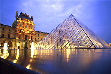 Glass pyramid and Louvre in the evening, Paris, France, Europe